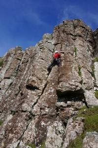 Rock climbing on Canna